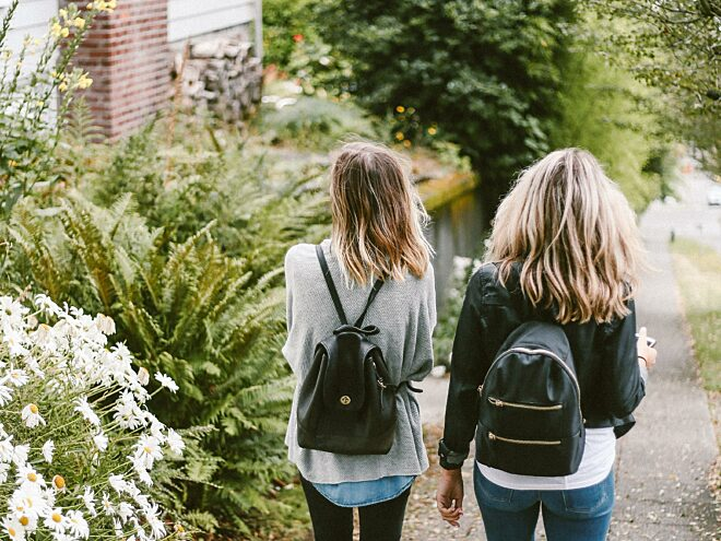 Two students having a walk